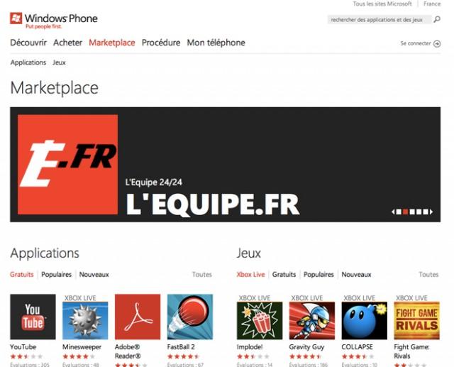 Le Marketplace de Windows Phone 7 déboule sur le web