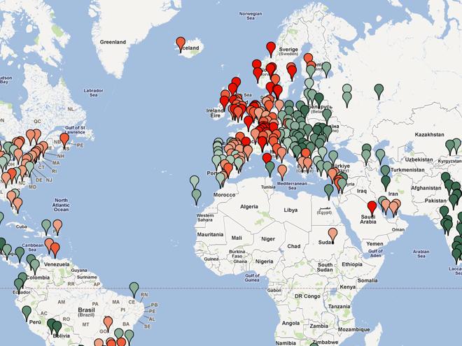 Numbeo développe une carte mondiale des prix