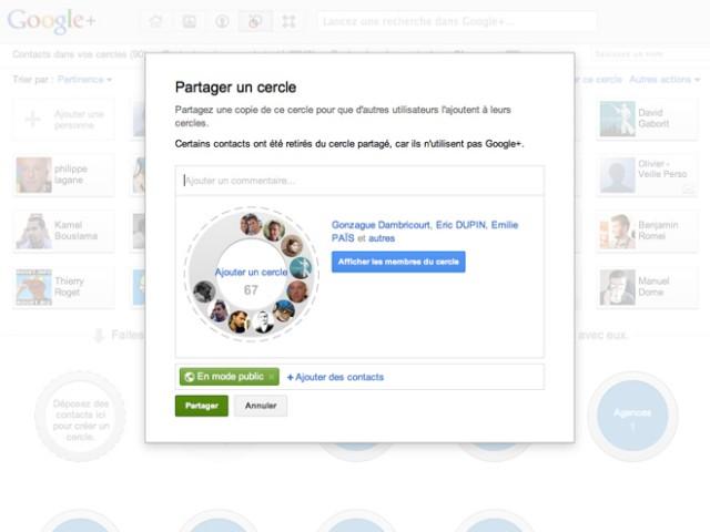 Google+ : le partage des cercles activé !