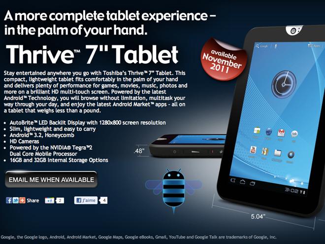 Toshiba Thrive 7, une tablette de 7 pouces sous Honeycomb