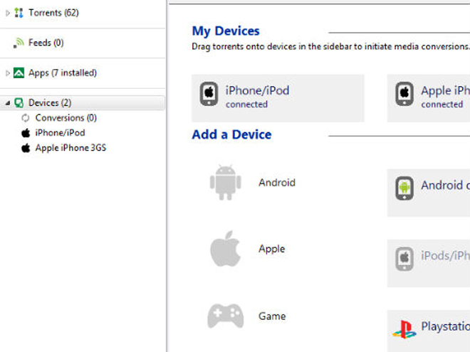 uTorrent : partage sur Android, iPhone, iPad, PS3 et Xbox 360