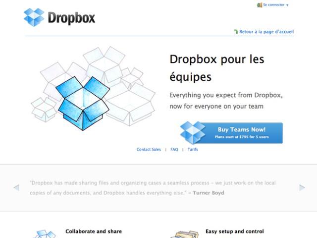 Dropbox maintenant disponible pour les entreprises