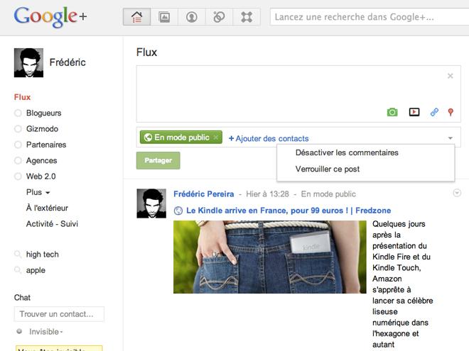 Google+ : désactivation des commentaires et verrouillage du message