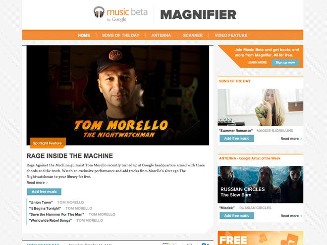 Magnifier, des chansons gratuites pour Google Music