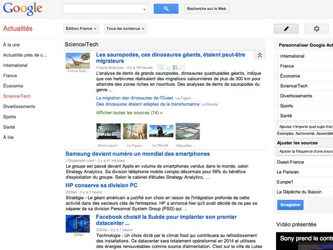 Google Actualités : la nouvelle version est là