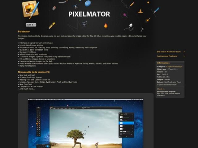 PixelMator 2.0 est disponible sur le Mac App Store