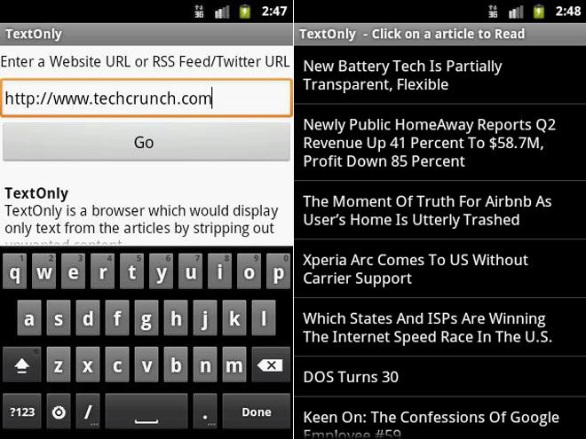 Text-Only, un navigateur original pour Android