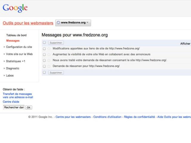 Les alertes arrivent dans Webmaster Tools