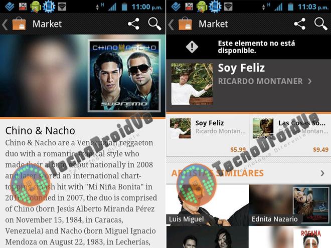 Quelques captures du Google Music Store