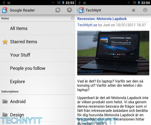 Google Reader : une nouvelle application Android en approche