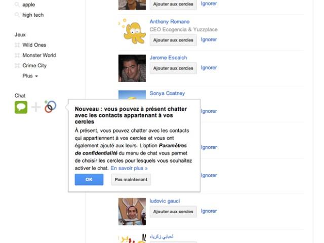 Google+ permet maintenant de chatter avec nos cercles