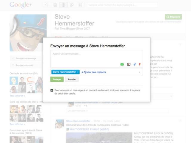 Google+ : envoi de messages privés en un clic