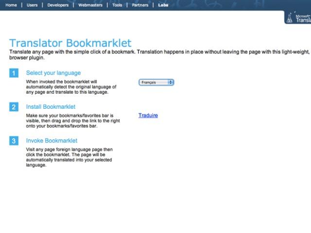 Microsoft Translator, un bookmarket pour traduire le web