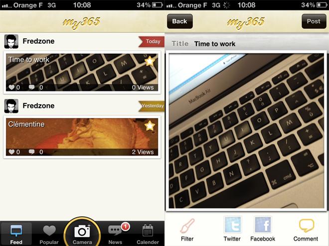 my365, partager sa vie en photos sur iPhone