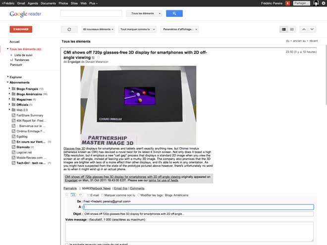 Google Reader : la nouvelle version est disponible