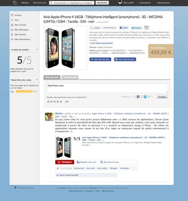 Olimeo, un réseau social d'avis de consommateurs