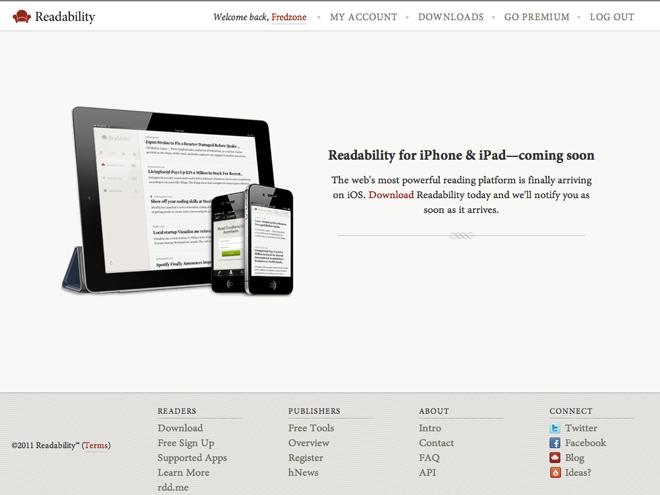 Readability bientôt sur iPhone et sur iPad