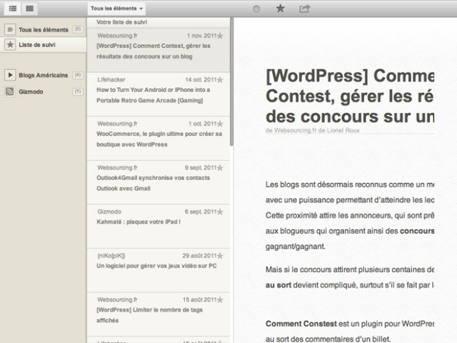 Reeder for Chrome, transformer Google Reader en Reeder