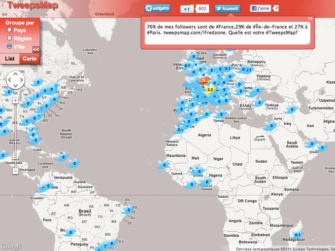 TweepsMap, tous vos followers sur une carte