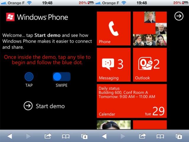 Tester Windows Phone 7 depuis iOS ou Android, c'est possible