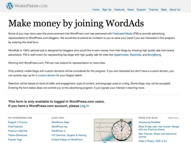 WordAds, le Google Adsense de WordPress.com