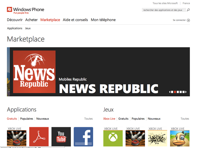 45.000 applications pour Windows Phone 7