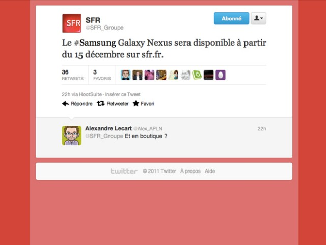 Galaxy Nexus : sortie chez SFR le 15 décembre