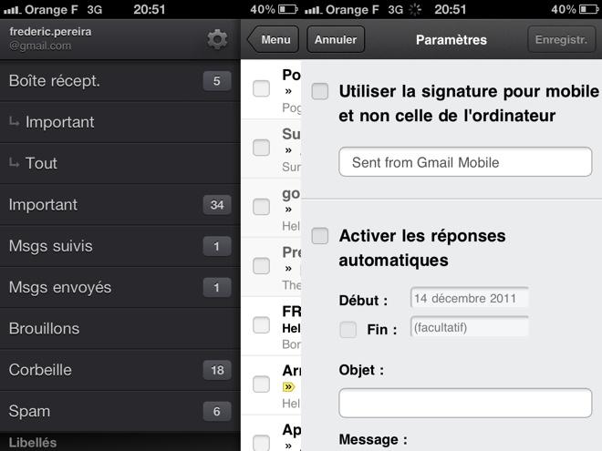 Gmail sur iOS : arrivée de la signature et du répondeur automatique