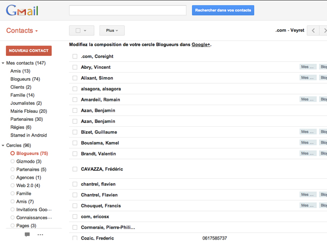 Les cercles Google+ sont maintenant intégrés aux contacts Gmail