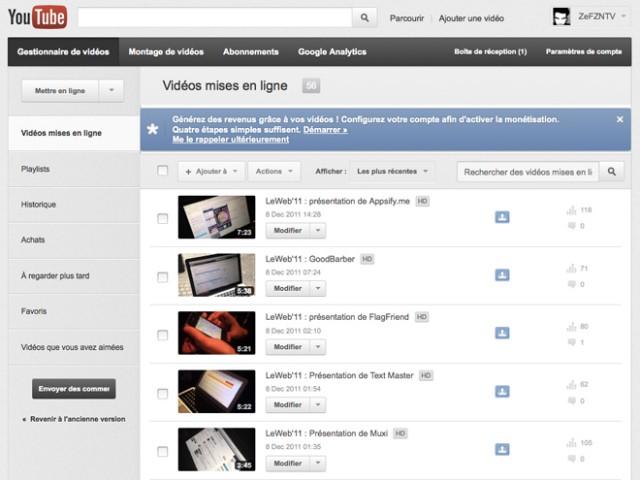 YouTube : une nouvelle interface pour la gestion des vidéos