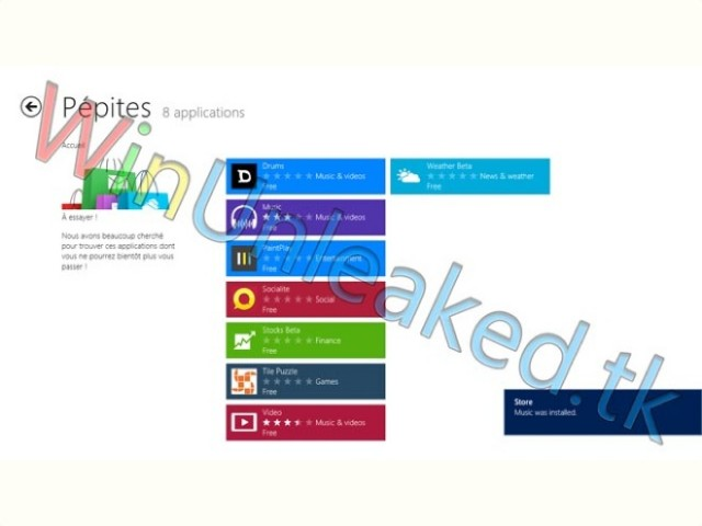 Les premières captures du Windows Store de Windows 8 leakées sur le web