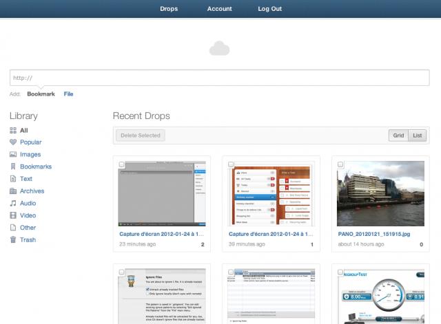 Interface web CloudApp