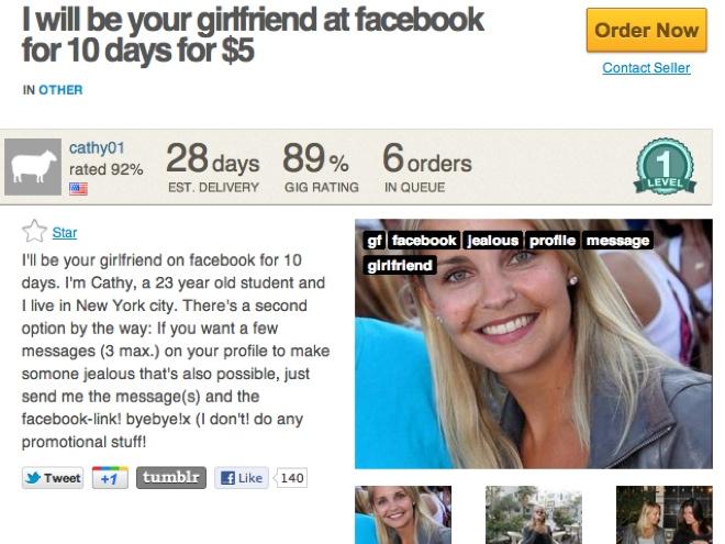 Louer une petite amie sur Facebook, c'est possible !