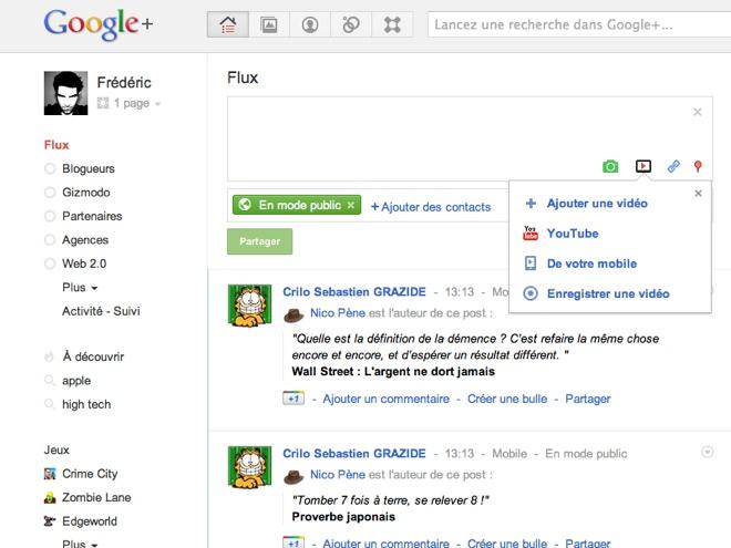 Google+ propose désormais la mise en ligne de statuts en vidéo