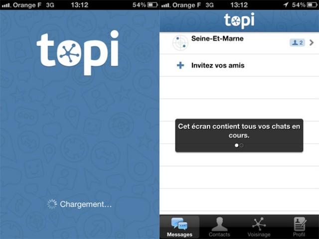 Topi, la discussion instantanée sur mobile