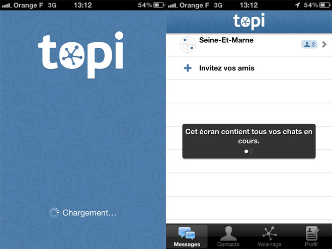 Topi, la discussion instantanée sur mobile