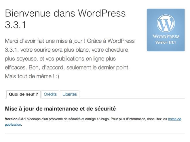 Wordpress 3.3.1 : une mise à jour pour corriger une faille de sécurité