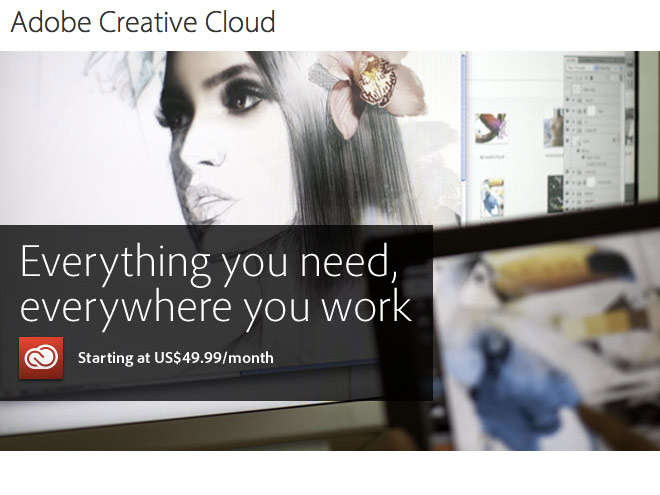 Adobe Creative Cloud : 49.99 $ par mois