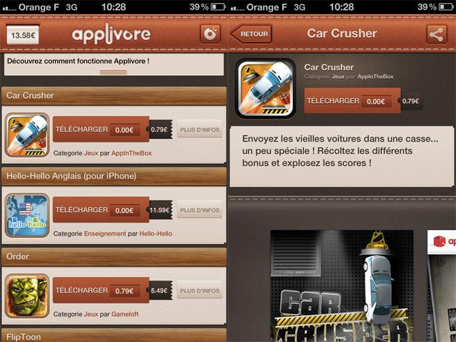 Applivore, toutes les promos de l'AppStore sur votre iPhone