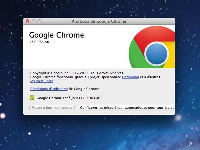Google Chrome 17 est dans la place