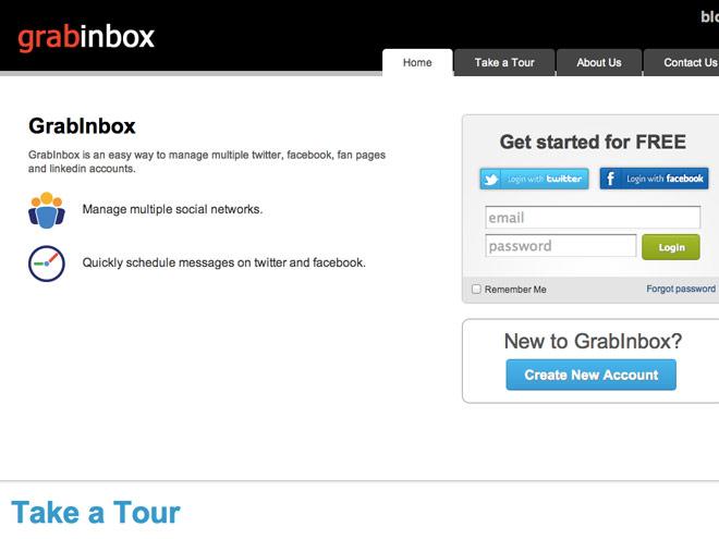 Gérer Twitter, Facebook et LinkedIn depuis un même service avec GrabInbox
