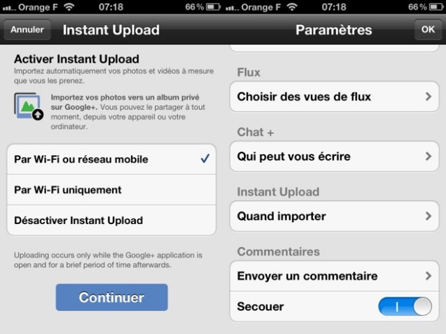 Instant Upload fait son entrée sur Google+ iOS