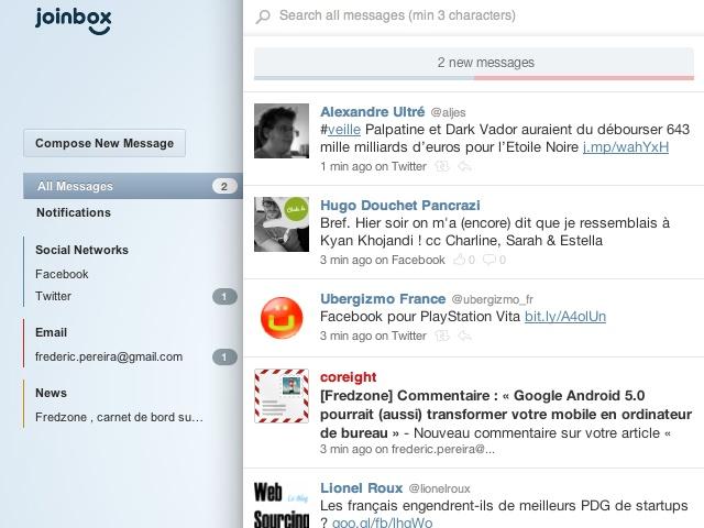 Gérer Twitter, Facebook et sa boite mail depuis un seul service avec Joinbox