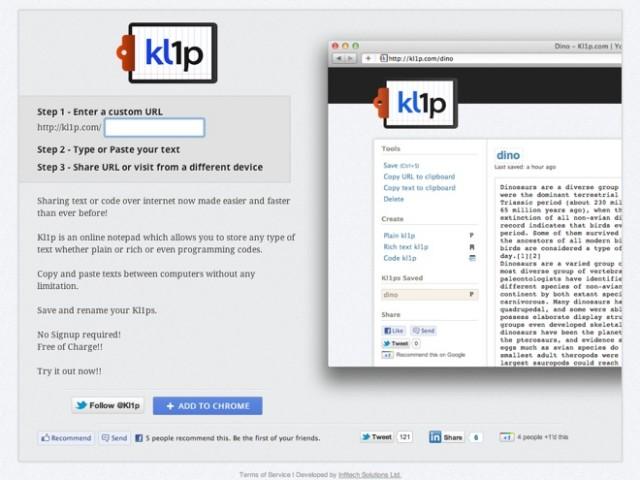 Kl1p, un bloc note connecté pour partager du texte, du code ou des images