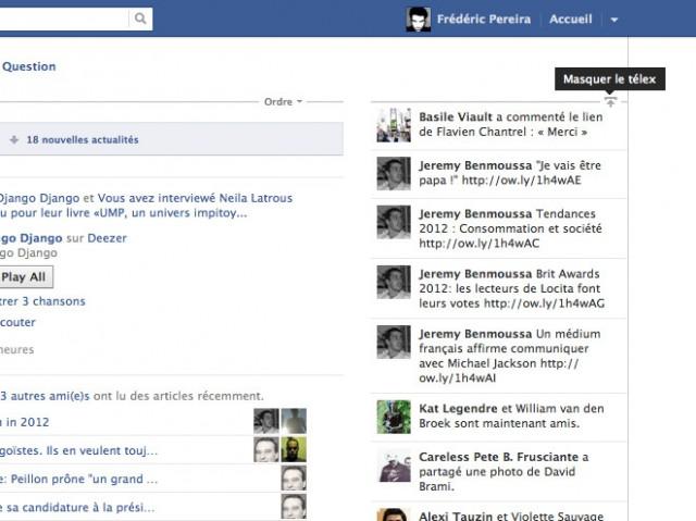 Facebook permet maintenant de masquer le Ticker / Télex