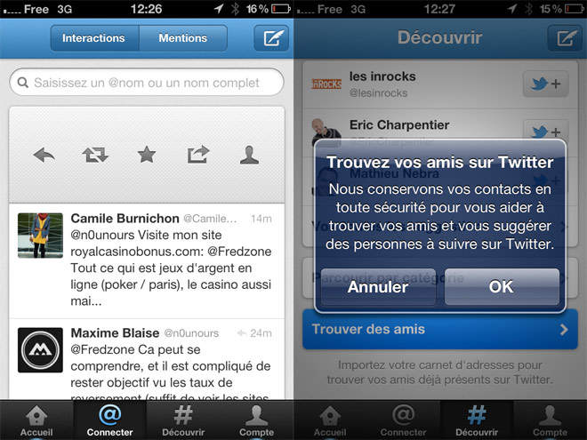 Twitter : une mise à jour pour iOS et Android