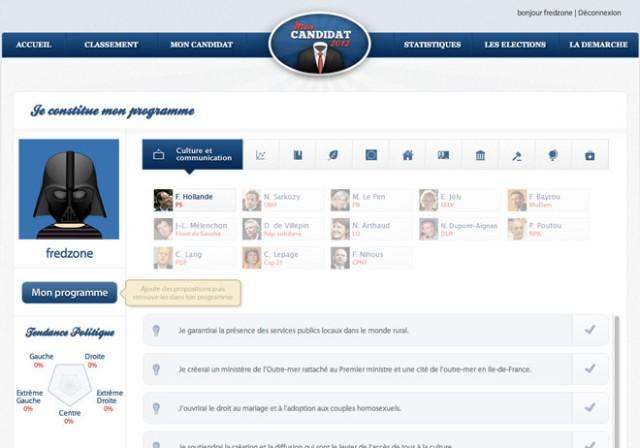 MonCandidat2012 : créer et soutenir le candidat parfait pour les prochaines présidentielles