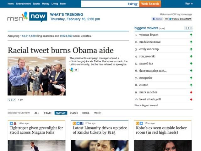 """MSN Now, toutes les tendances """"sociales"""" du moment"""