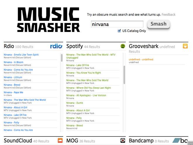 Music Smasher, pour trouver de la musique sur Spotify, Rdio, SoundCloud et les autres
