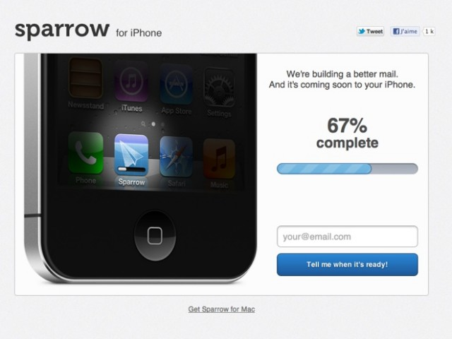 Quelques captures de Sparrow pour iPhone